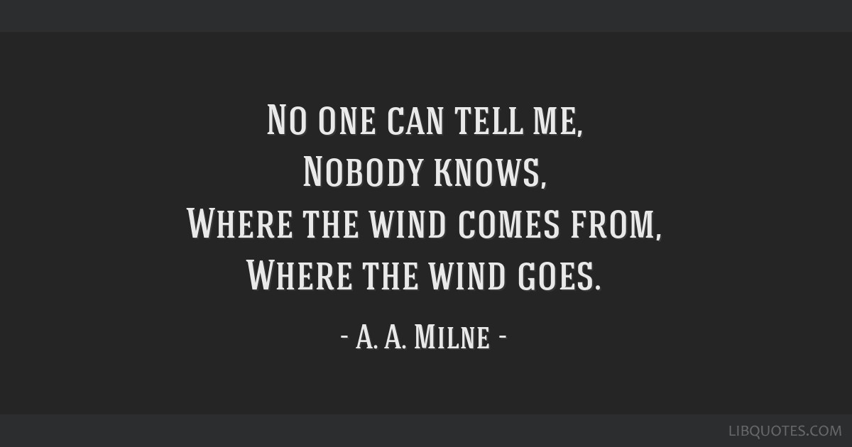 No One Can Tell Me Nobody Knows Where The Wind Comes From Where
