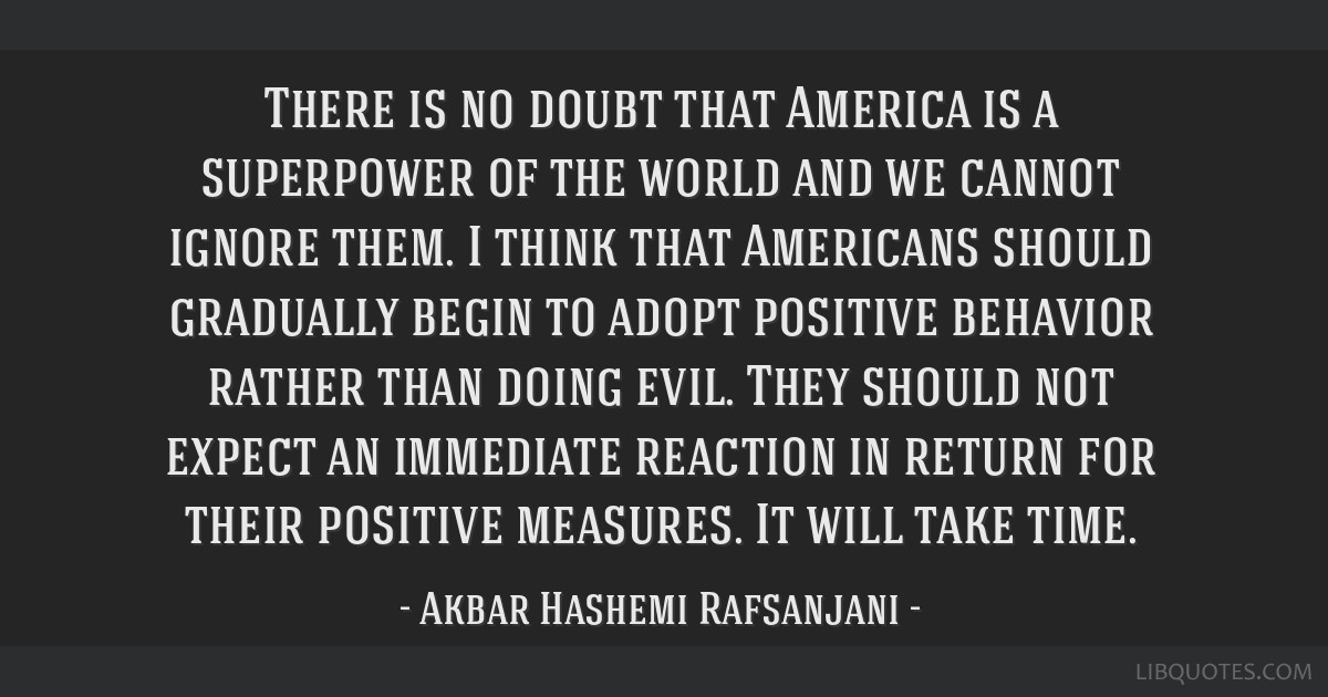 There is no doubt that America is a superpower of the world and we cannot ignore them. I think that Americans should gradually begin to adopt...