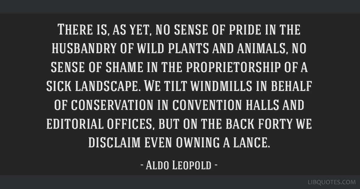 There is, as yet, no sense of pride in the husbandry of wild plants and animals, no sense of shame in the proprietorship of a sick landscape. We tilt ...