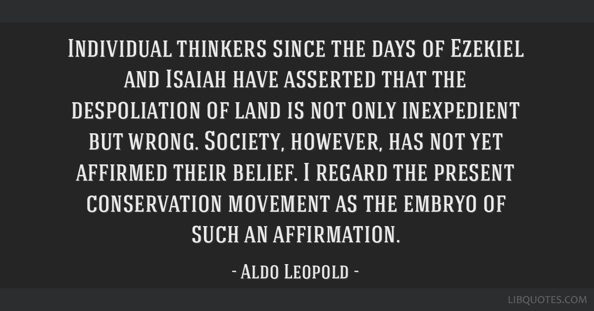 Individual thinkers since the days of Ezekiel and Isaiah have asserted that the despoliation of land is not only inexpedient but wrong. Society,...