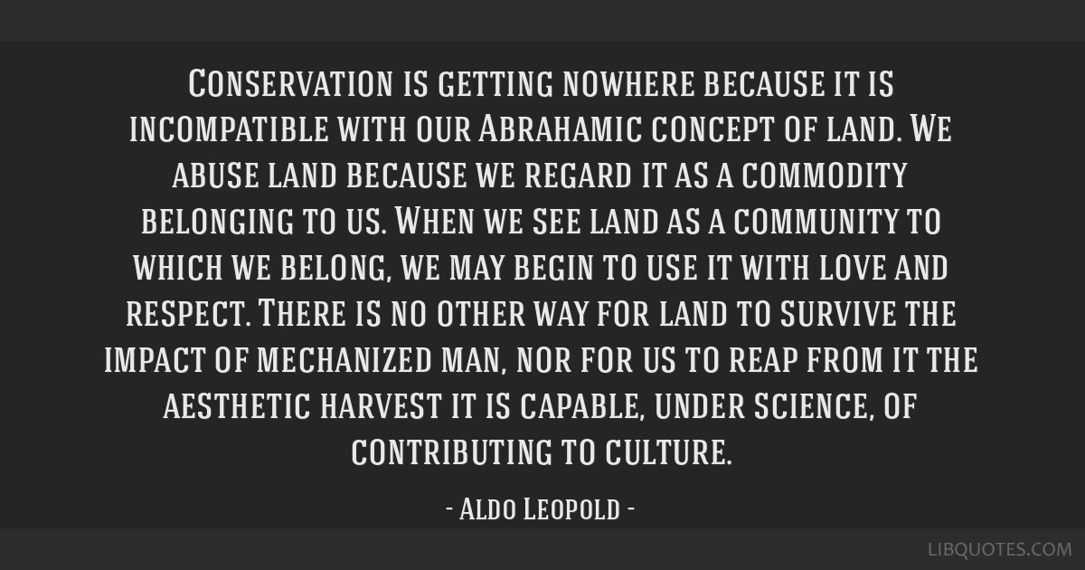 Conservation is getting nowhere because it is incompatible with our Abrahamic concept of land. We abuse land because we regard it as a commodity...