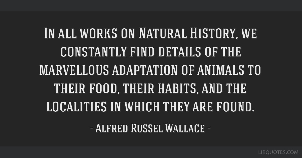 In all works on Natural History, we constantly find details of the marvellous adaptation of animals to their food, their habits, and the localities...