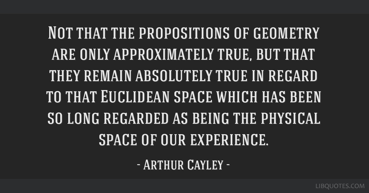 Not that the propositions of geometry are only approximately true, but that they remain absolutely true in regard to that Euclidean space which has...