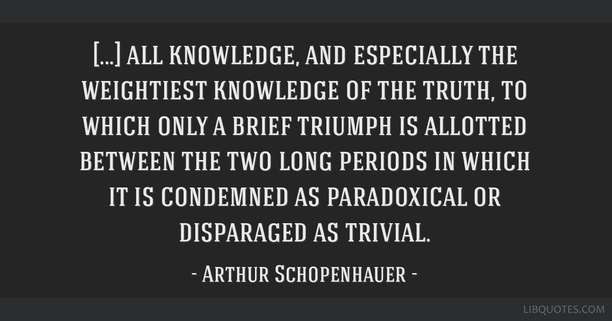 All knowledge, and especially the weightiest knowledge of the truth, to which only a brief triumph is allotted between the two long periods in which...