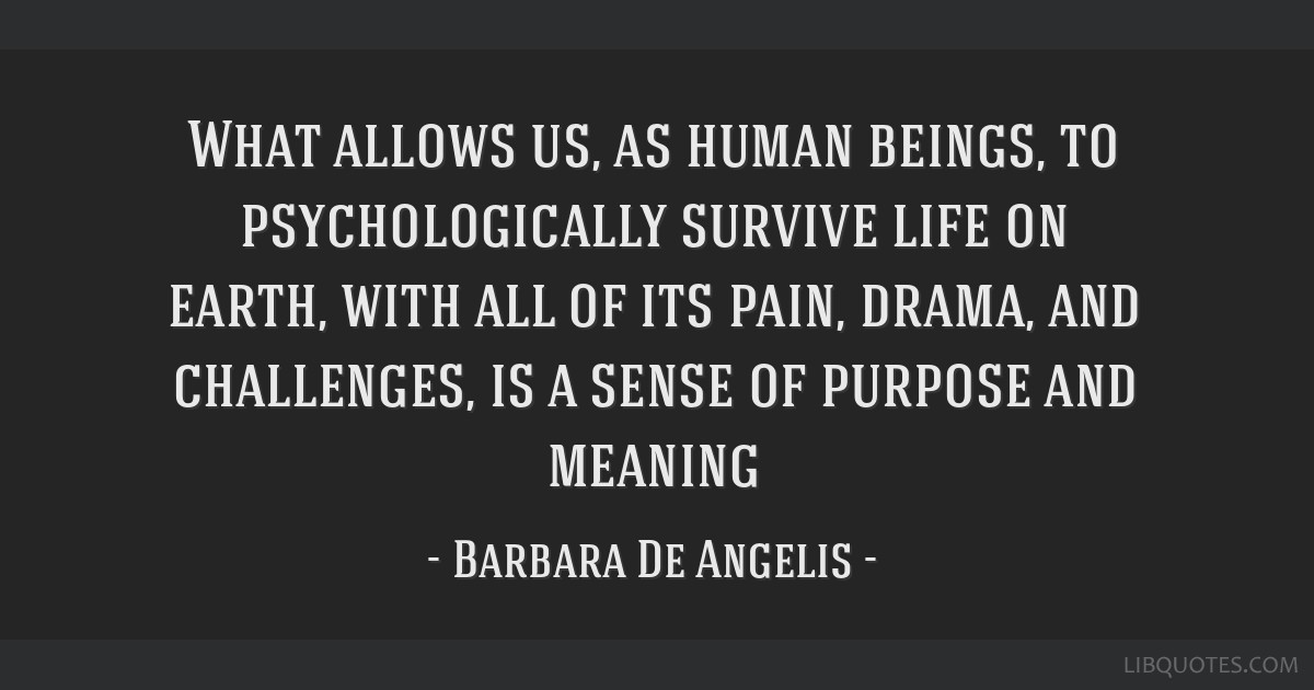 What allows us, as human beings, to psychologically survive life on earth, with all of its pain, drama, and challenges, is a sense of purpose and...