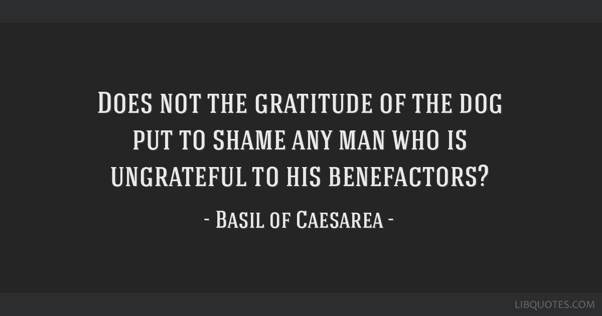 Does not the gratitude of the dog put to shame any man who is ungrateful to his benefactors?