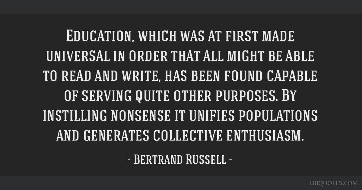 Education, which was at first made universal in order that all might be able to read and write, has been found capable of serving quite other...