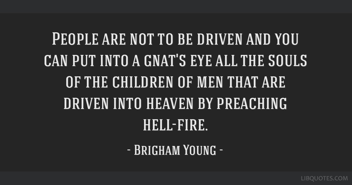 People are not to be driven and you can put into a gnat's eye all the souls of the children of men that are driven into heaven by preaching hell-fire.