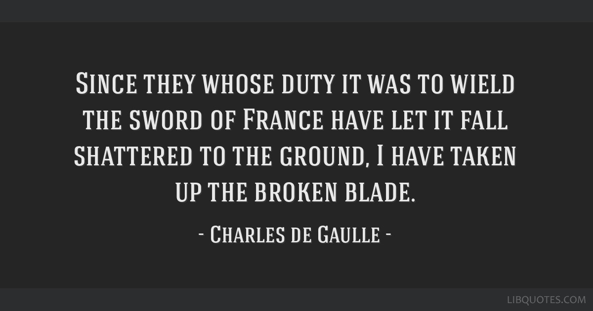 Since they whose duty it was to wield the sword of France have let it fall shattered to the ground, I have taken up the broken blade.