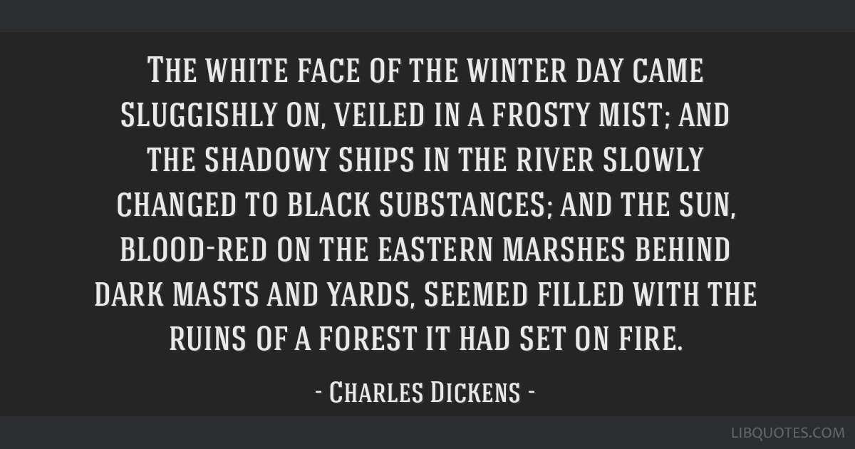 The white face of the winter day came sluggishly on, veiled in a frosty mist; and the shadowy ships in the river slowly changed to black substances;...