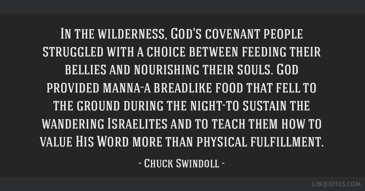 In the wilderness, God's covenant people struggled with a choice between feeding their bellies and nourishing their souls. God provided manna-a...