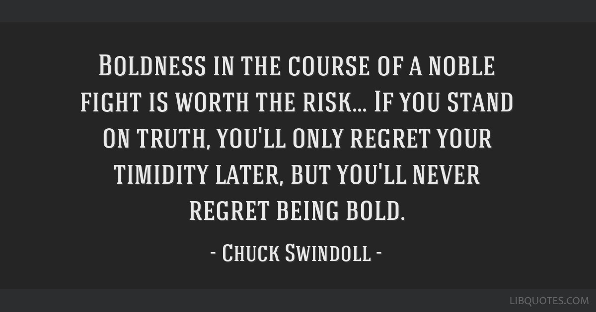 Boldness in the course of a noble fight is worth the risk... If you stand on truth, you'll only regret your timidity later, but you'll never regret...