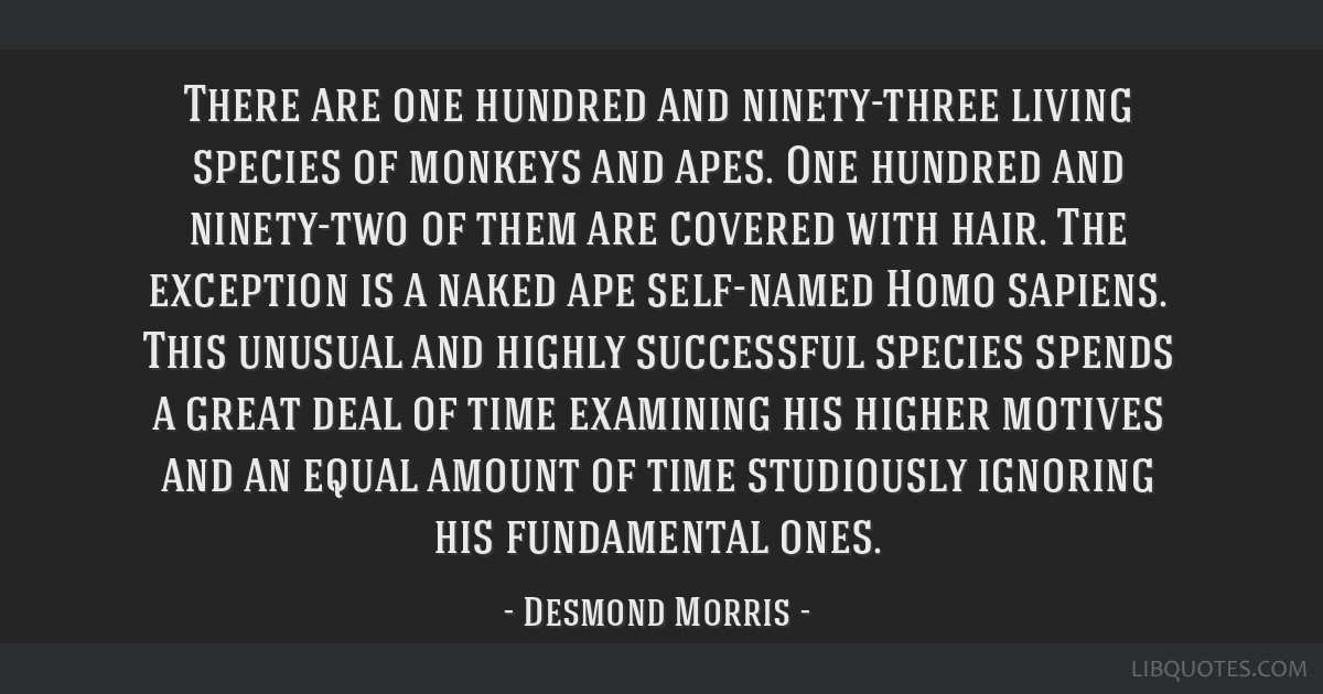 There are one hundred and ninety-three living species of monkeys and apes. One hundred and ninety-two of them are covered with hair. The exception is ...