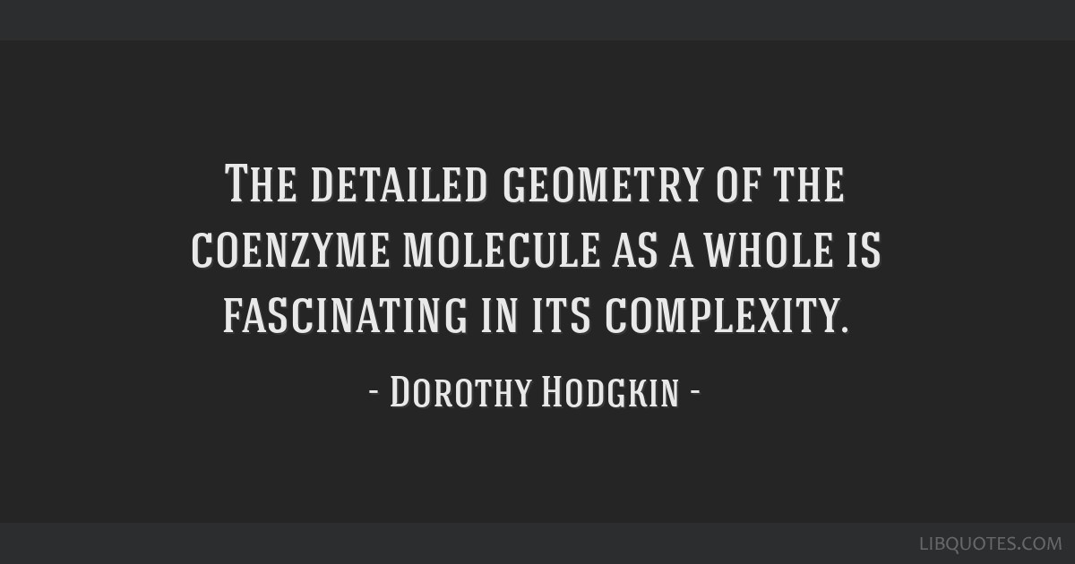 The detailed geometry of the coenzyme molecule as a whole is fascinating in its complexity.