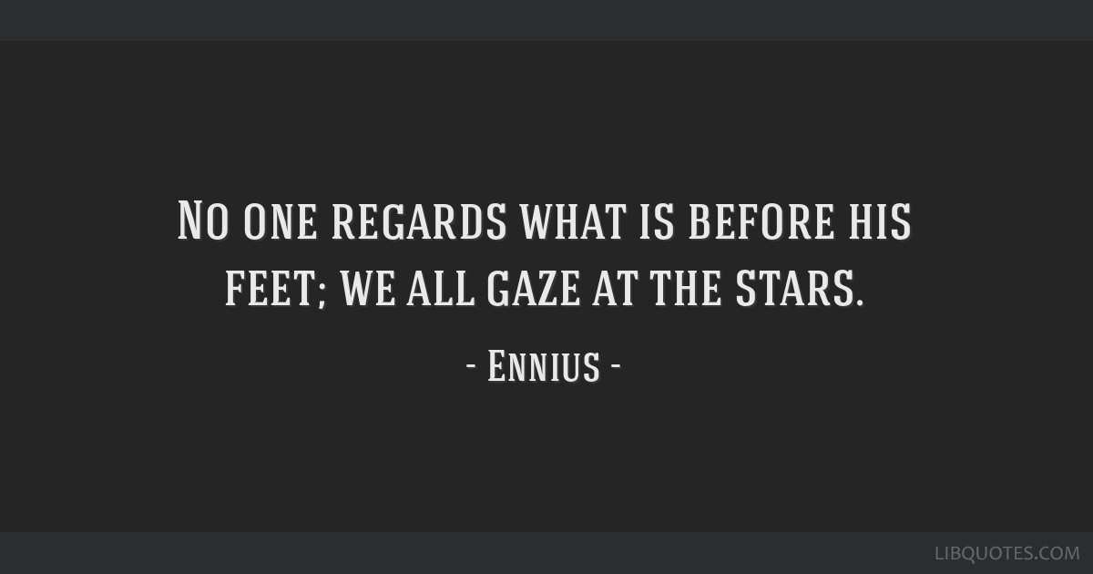 No one regards what is before his feet; we all gaze at the stars.