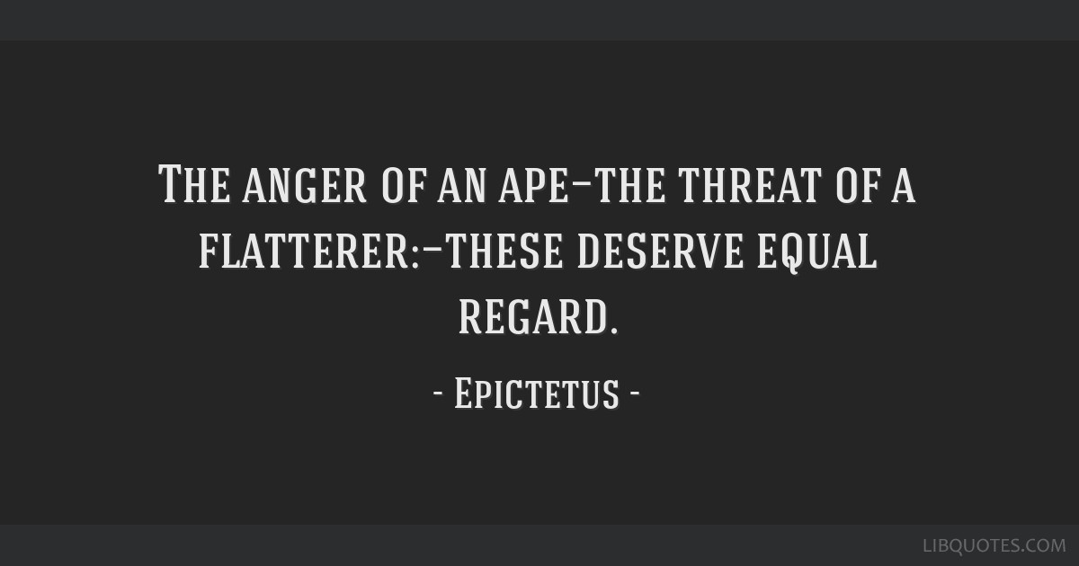 The anger of an ape—the threat of a flatterer:—these deserve equal regard.