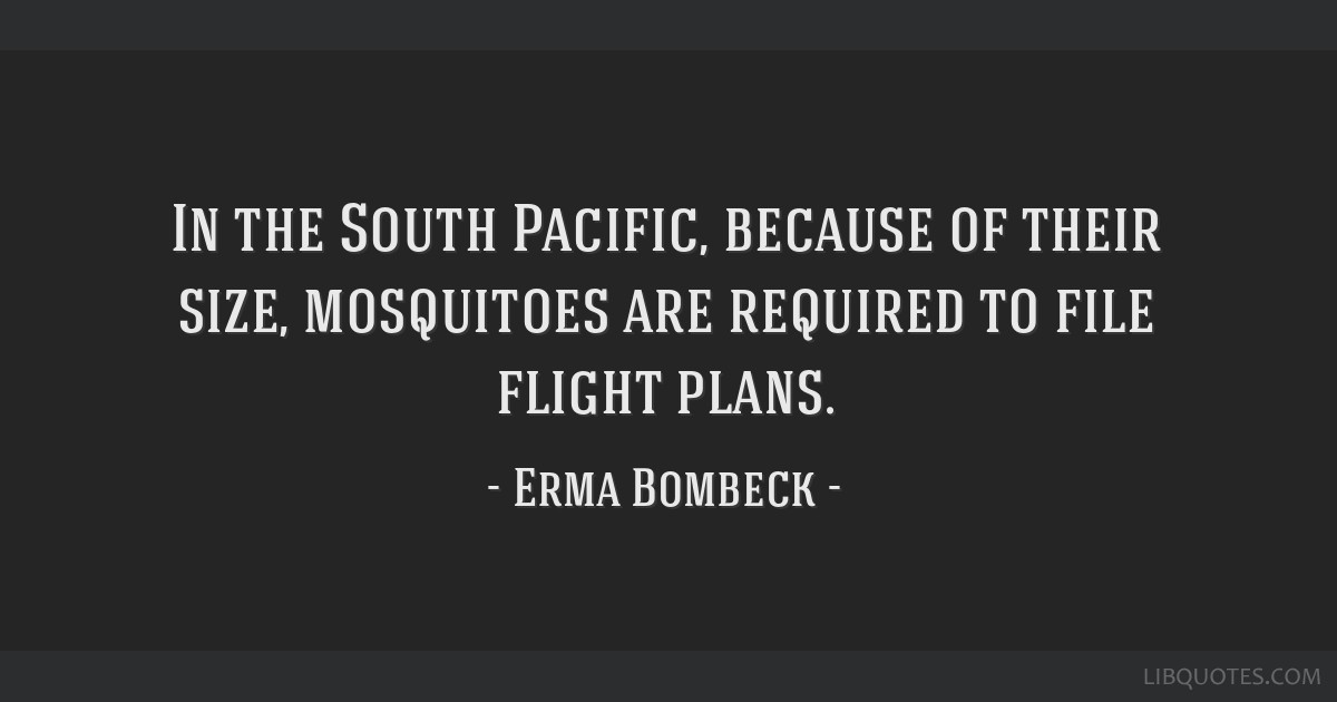 In the South Pacific, because of their size, mosquitoes are required to file flight plans.