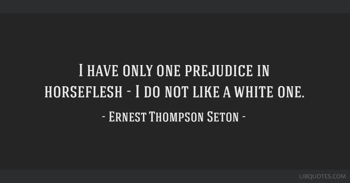 I have only one prejudice in horseflesh - I do not like a white one.