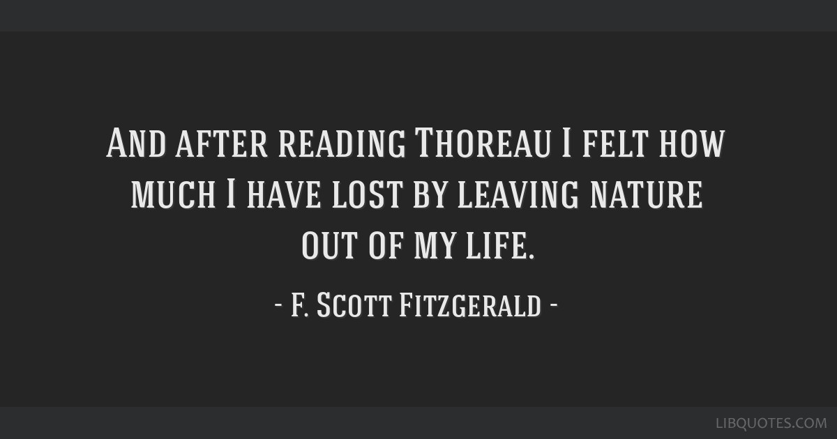And after reading Thoreau I felt how much I have lost by leaving nature out of my life.