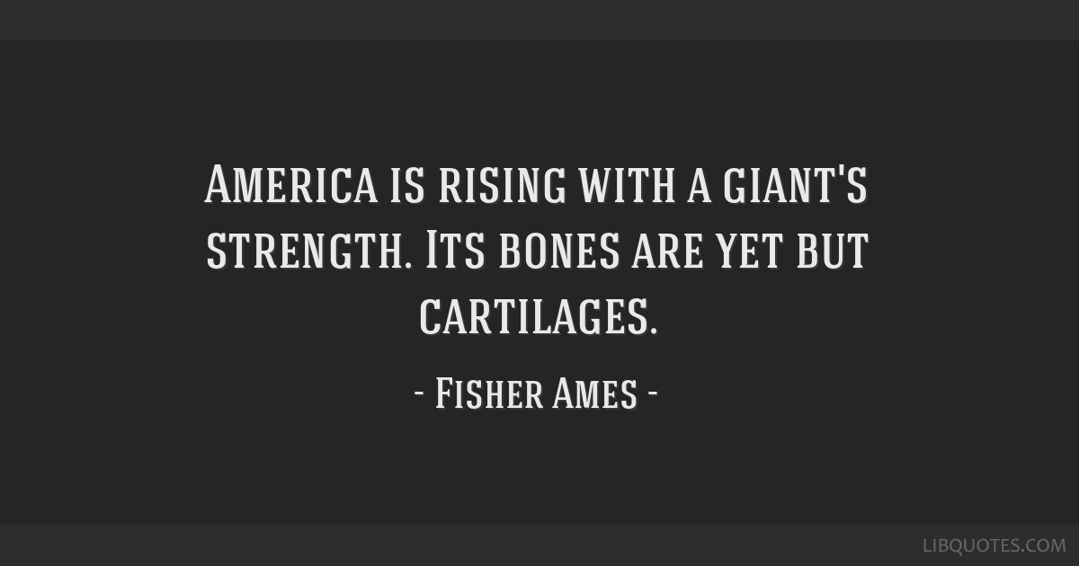 America is rising with a giant's strength. Its bones are yet but cartilages.