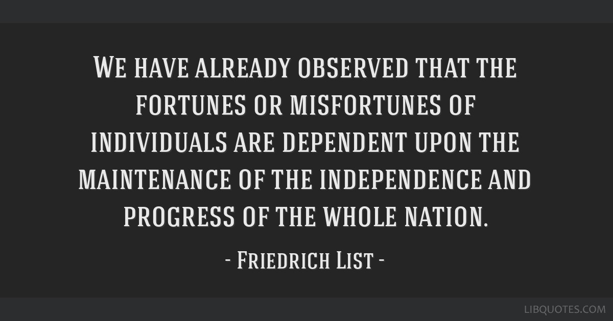 We have already observed that the fortunes or misfortunes of individuals are dependent upon the maintenance of the independence and progress of the...
