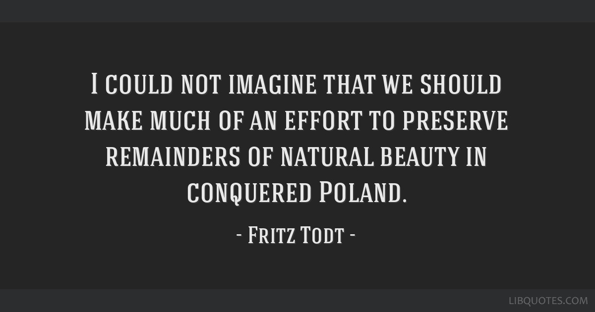 I could not imagine that we should make much of an effort to preserve remainders of natural beauty in conquered Poland.