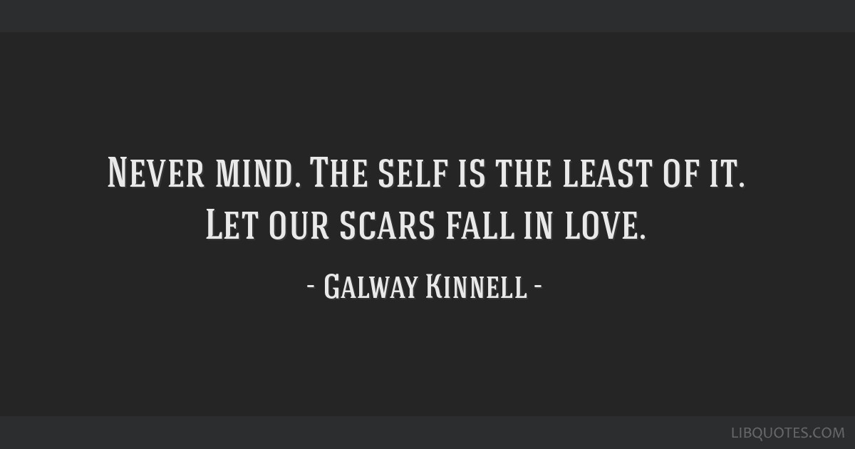 Never mind. The self is the least of it. Let our scars fall in love.