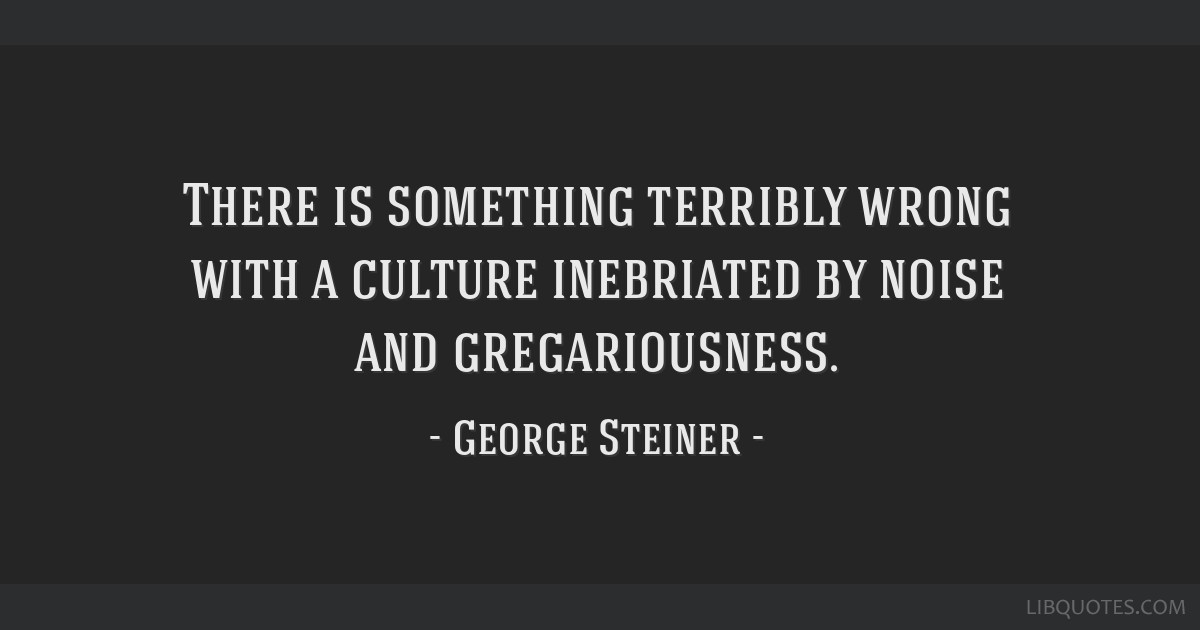 There is something terribly wrong with a culture inebriated by noise and gregariousness.