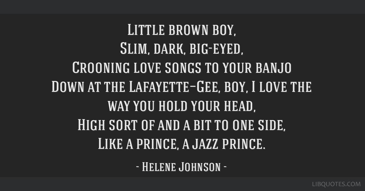 Little Brown Boy Slim Dark Big Eyed Crooning Love Songs To Your