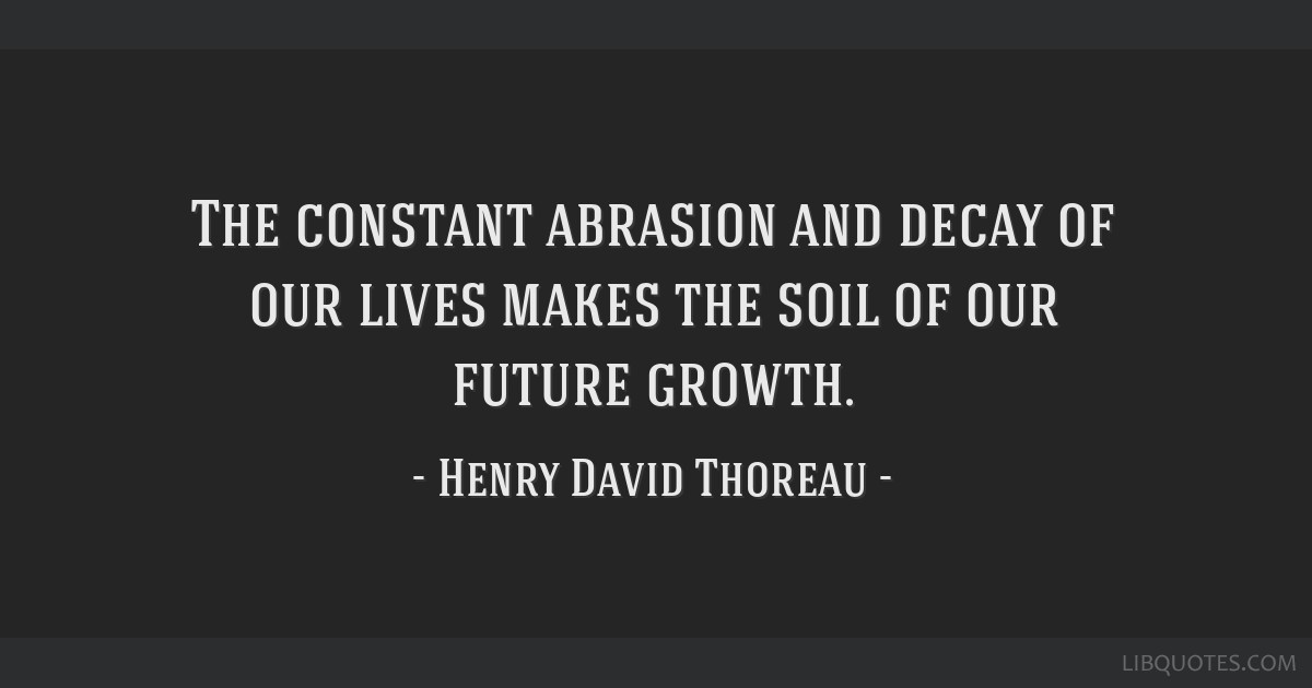 The constant abrasion and decay of our lives makes the soil of our future growth.