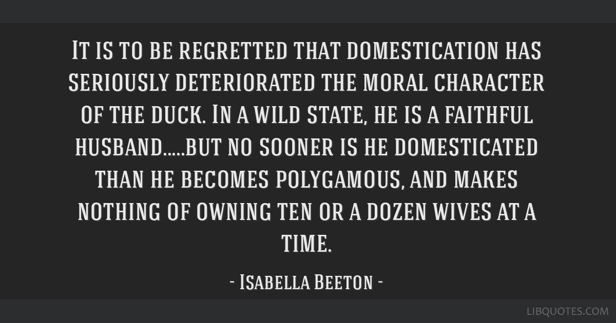 it is to be regretted that domestication has seriously