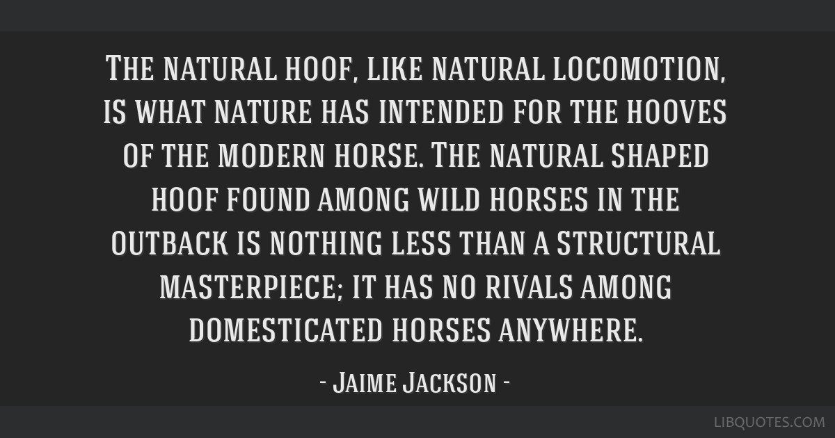 The natural hoof, like natural locomotion, is what nature has intended for the hooves of the modern horse. The natural shaped hoof found among wild...
