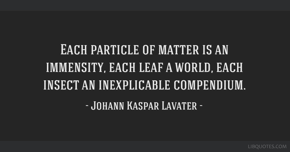 Each particle of matter is an immensity, each leaf a world, each insect an inexplicable compendium.