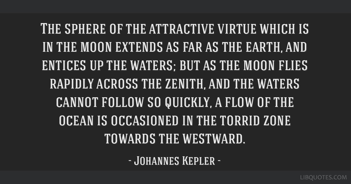 The sphere of the attractive virtue which is in the moon extends as far as the earth, and entices up the waters; but as the moon flies rapidly across ...