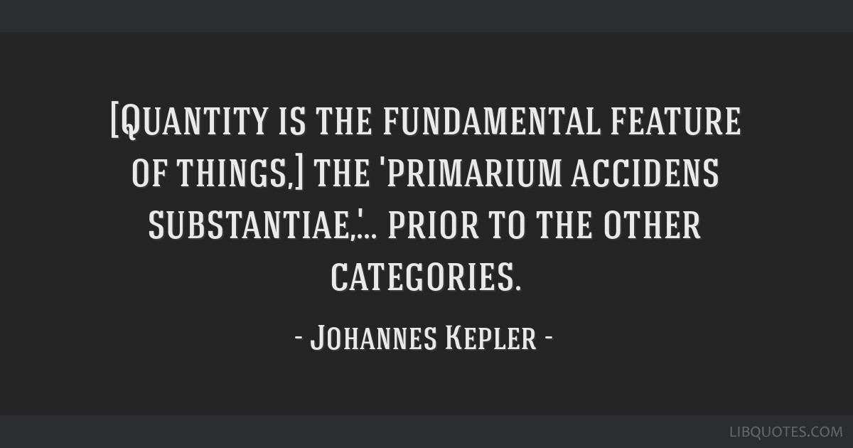 [Quantity is the fundamental feature of things,] the 'primarium accidens substantiae,'... prior to the other categories.