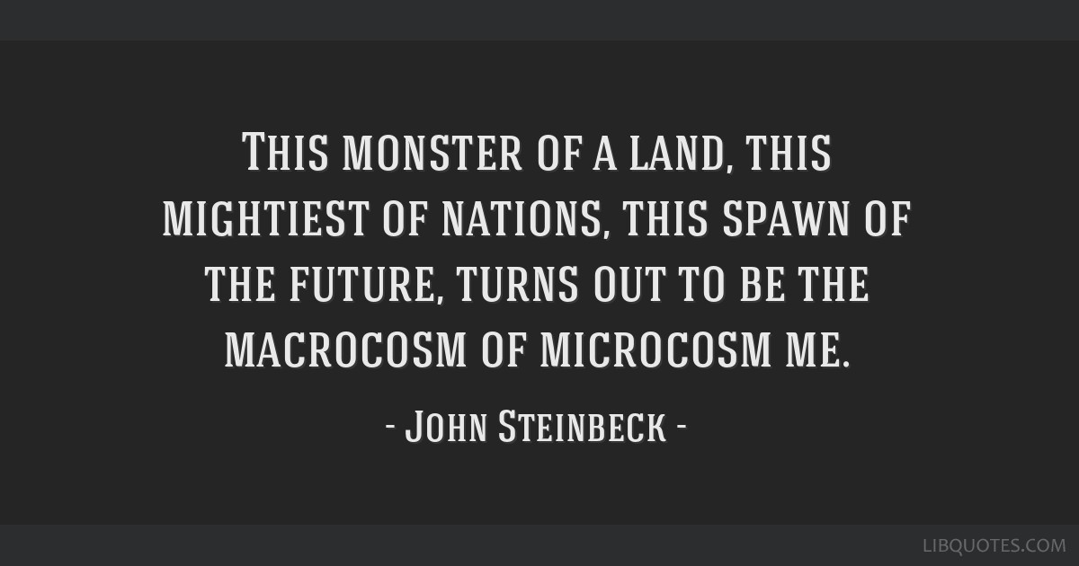 This monster of a land, this mightiest of nations, this spawn of the future, turns out to be the macrocosm of microcosm me.