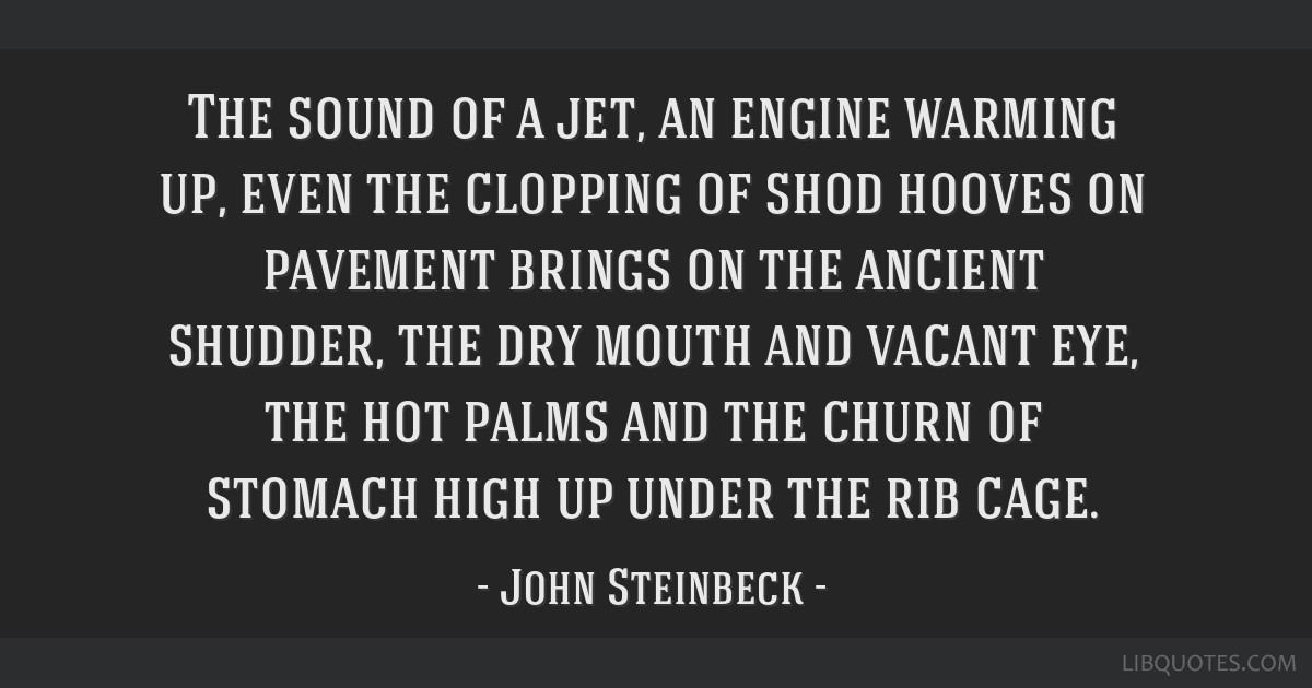 The sound of a jet, an engine warming up, even the clopping of shod hooves on pavement brings on the ancient shudder, the dry mouth and vacant eye,...