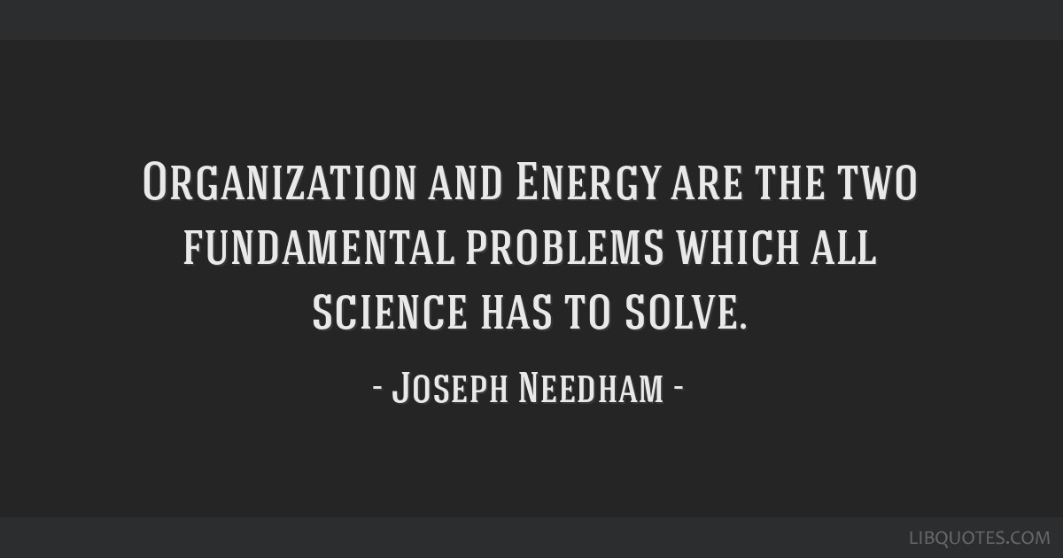 Organization and Energy are the two fundamental problems which all science has to solve.
