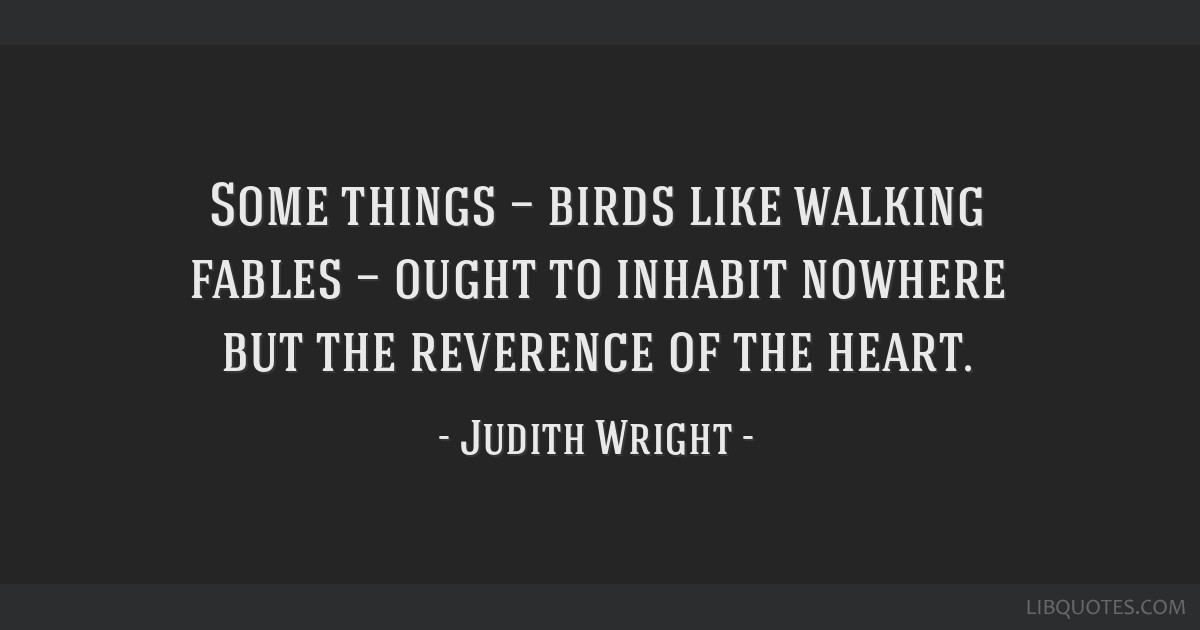 Some things — birds like walking fables — ought to inhabit nowhere but the reverence of the heart.