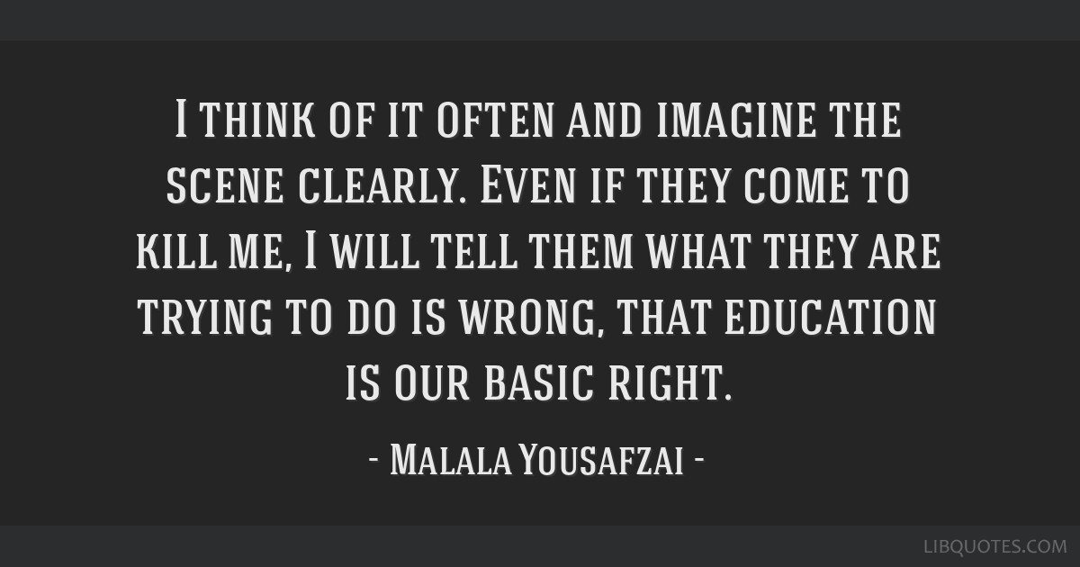 I think of it often and imagine the scene clearly. Even if they come to kill me, I will tell them what they are trying to do is wrong, that education ...