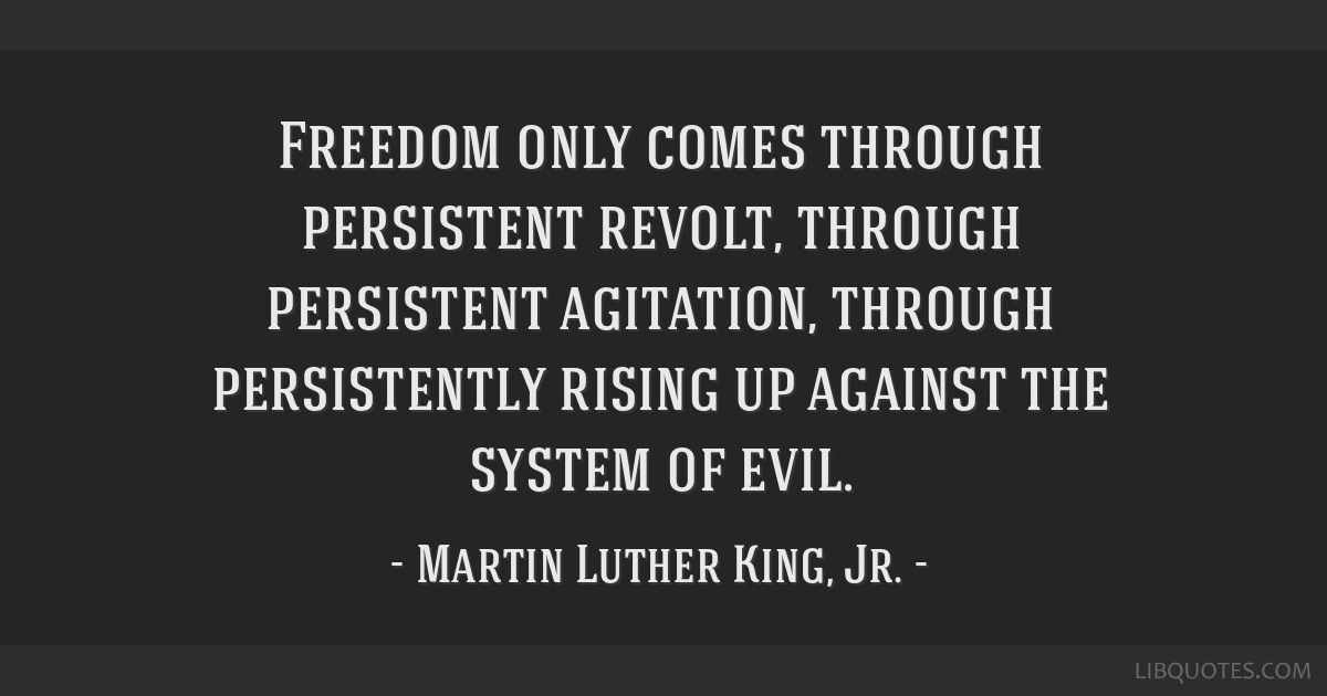 Freedom Only Comes Through Persistent Revolt Through Persistent