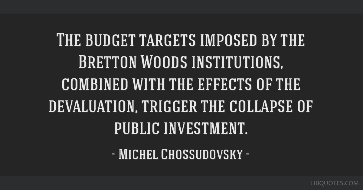 The budget targets imposed by the Bretton Woods institutions, combined with the effects of the devaluation, trigger the collapse of public investment.