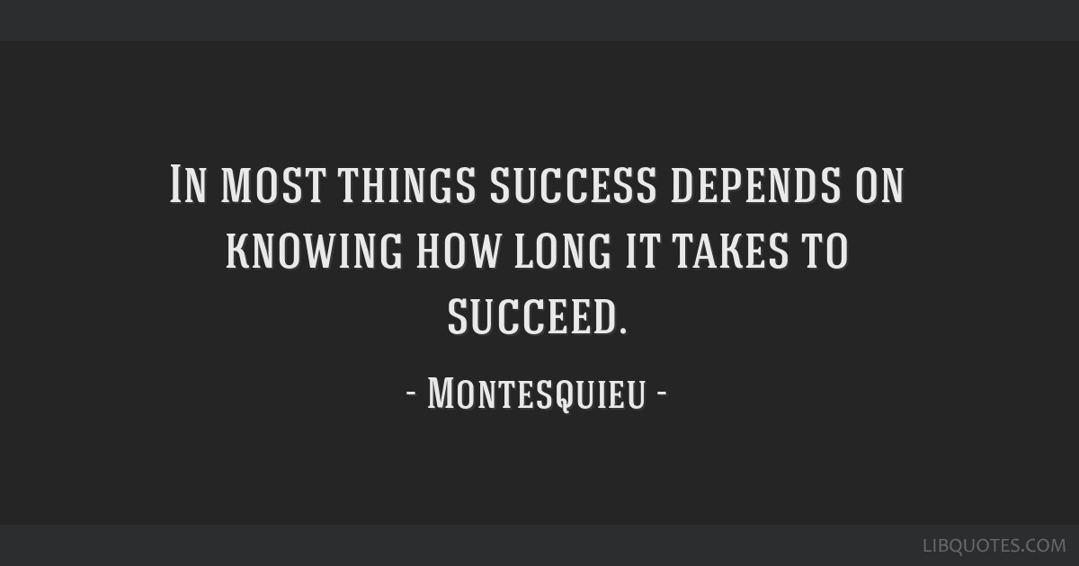 In most things success depends on knowing how long it takes to succeed.
