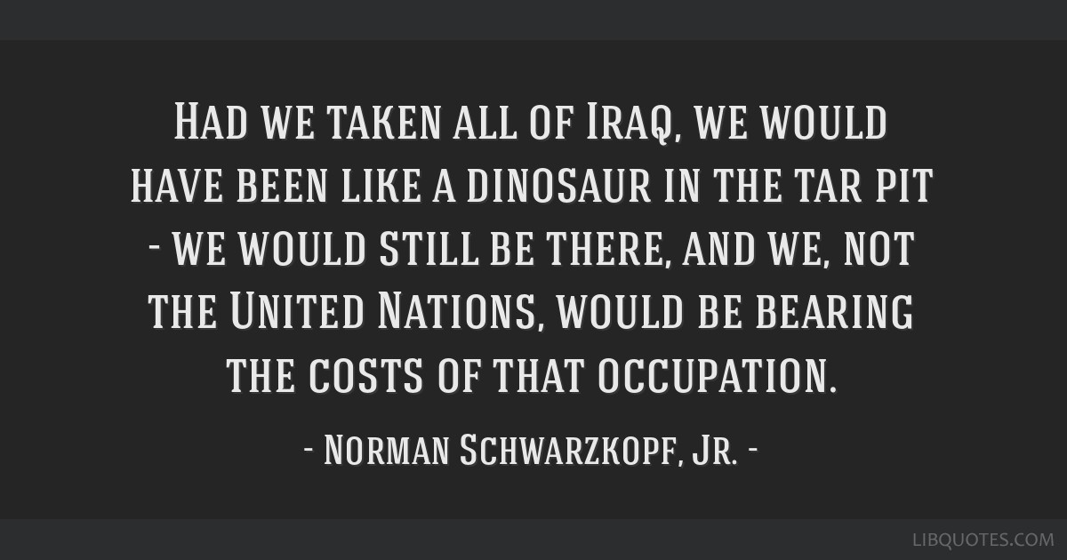 Had we taken all of Iraq, we would have been like a dinosaur in the tar pit - we would still be there, and we, not the United Nations, would be...