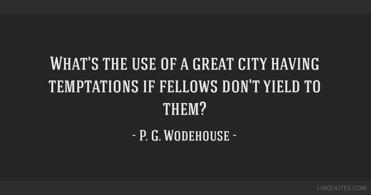 What's the use of a great city having temptations if fellows don't yield to them?