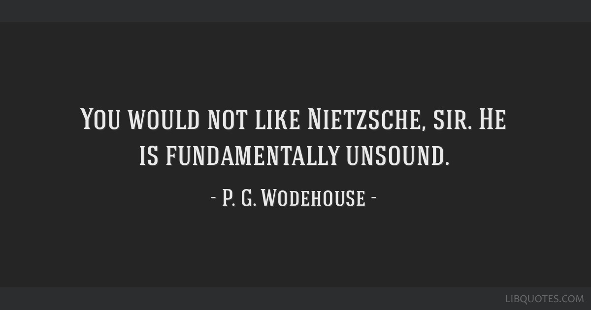 You would not like Nietzsche, sir. He is fundamentally unsound.