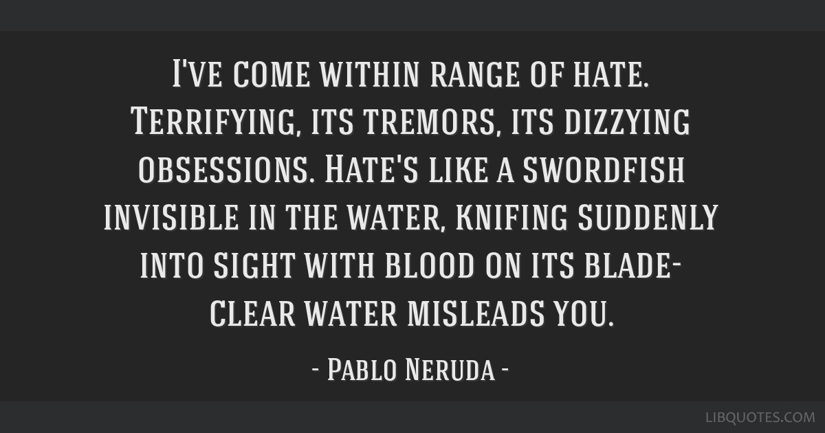 I've come within range of hate. Terrifying, its tremors, its dizzying obsessions. Hate's like a swordfish invisible in the water, knifing suddenly...