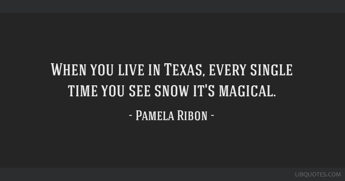 When you live in Texas, every single time you see snow it's magical.