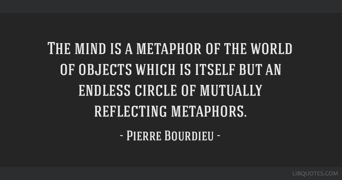 The mind is a metaphor of the world of objects which is itself but an endless circle of mutually reflecting metaphors.