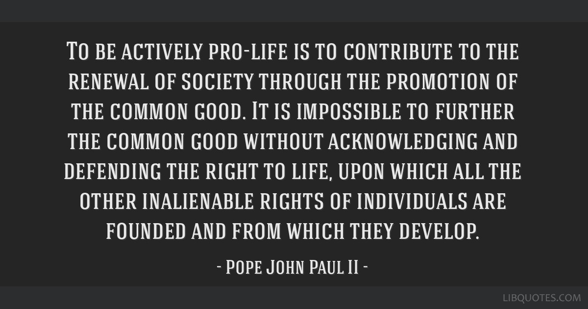To be actively pro-life is to contribute to the renewal of society through the promotion of the common good. It is impossible to further the common...
